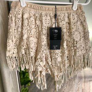Cream fringe crochet shorts